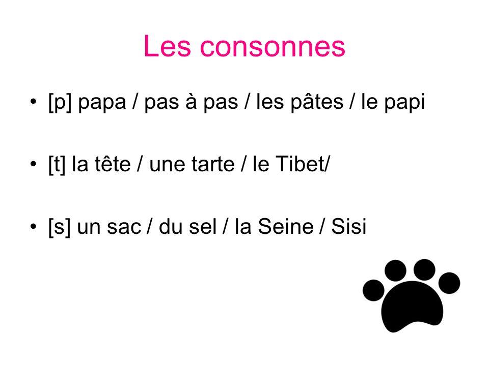 Les consonnes [p] papa / pas à pas / les pâtes / le papi